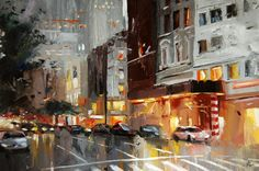"""Manhattan 5th Ave."" 16""x24"" Oil on canvas. Victor Bauer"