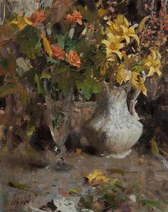 Richard Alan Schmid, (American, b. 1934), Day Lilies and Roses, 1963