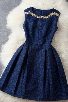 navy blue dress with embellishing #fashion #dress