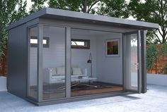 The Charford - Malvern Garden Buildings. The Charford garden office is a versatile building with a modern feel, which can be used in every season. Although a garden office, it is just as well suited for relaxing or entertaining. Shed Office, Backyard Office, Outdoor Office, Backyard Studio, Garden Studio, Shed Building Plans, Shed Plans, Contemporary Garden Rooms, Garden Cabins
