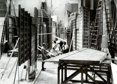 Behind the scenes on construction of the Metropolis sets (directed by Fritz Lang, 1927)