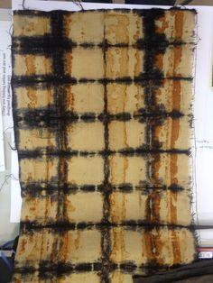 White tannin shibori on rust print