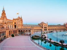 Plaza de España was built for the Ibero-American Exhibition of 1929. Plaza de Espana Canal Seville, Spain