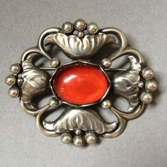 Gallery 925 - Georg Jensen Sterling Silver and Amber Brooch, No. 173, Handmade Sterling Silver