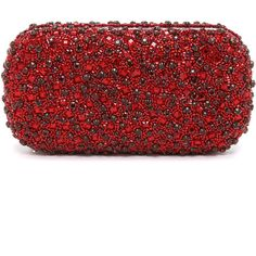 alice + olivia Large Crystals Clutch found on Polyvore featuring bags, handbags, clutches, red, red handbags, beaded clutches, red clutches, alice + olivia handbags and beaded purse