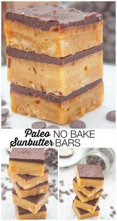 Paleo No Bake SunButter Bars- no eggs. Sunbather or nut butter, almond flour and coconut flour. 10min!