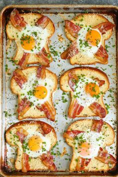 Sheet Pan Egg-in-a-Hole A quick classic that comes together right on a sheet pan! Less mess, less fuss and just way easier than the stovetop version! - 40 Excellent Egg Recipes: Best For Breakfast Or Brunch Breakfast Dishes, Healthy Breakfast Recipes, Healthy Recipes, Breakfast Ideas With Eggs, Breakfast Toast, Healthy Breakfasts, Breakfast For Dinner, Easy Egg Recipes, Healthy Breakfast With Eggs