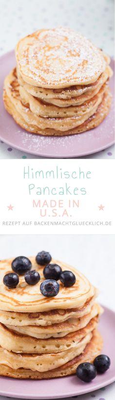 Diese Pancakes werden extrem fluffig, weich und schön dick. Dazu habe ich ein paar Tricks parat. Am besten schmecken sie mit Ahornsirup und Butter oder mit Blaubeeren.