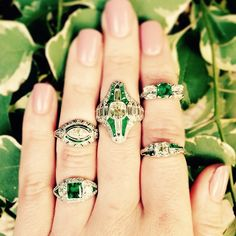 """Emerald envy at #CraigEvanSmall! These gorgeous #vintage #emerald and #diamond #rings give us the """"I wants""""...especially the stunning #JECaldwell #ring on bottom left. #vintagering #artdeco #diamonds #vintagejewelry"""