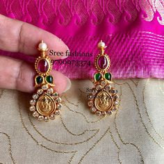 Unique Temple Earrings From Sree Exotic Silver Jewelleries ~ South India Jewels Pearl Necklace Designs, Jewelry Design Earrings, Gold Earrings Designs, Gold Jewellery Design, Ear Jewelry, Gold Wedding Jewelry, Gold Jewelry, Terracota Jewellery, Gold Earrings For Women