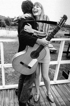 Joni Mitchell Hugging Leonard Cohen