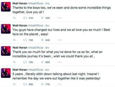 Nialls tweets about 5 years