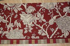 """Robert Allen Beige Brown Red Toile  Valance 17"""" x 78""""/81"""" Dra Wt Alter Curtain #Beige #Brown #Floral"""