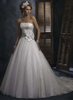Attractive Strapless Sleeveless Organza wedding dress,chiffon wedding dress,chiffon wedding dress,chiffon wedding dress