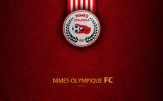 Download wallpapers Nimes Olympique FC, French football club, 4k, Ligue 2, leather texture, logo, Nimes, France, second division, football