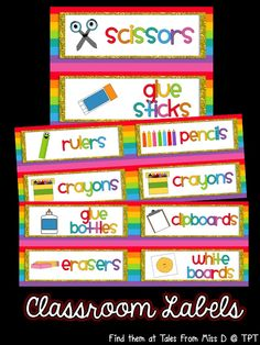 Organise your classroom with these bright and colourful classroom labels! There are 180 labels in total  This pack is divided up into 7 categories;  Stationery Books/Subjects Daily Schedule Calendar Word Wall Letters Classroom Objects Requested by Buyers