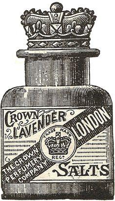 Knick of Time: Antique Graphics - 1888 Crown Lavender Bath Salts Advertisement