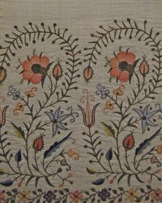 Detail of the embroidered edge of a Turkish towel linen, silk thread 19th century