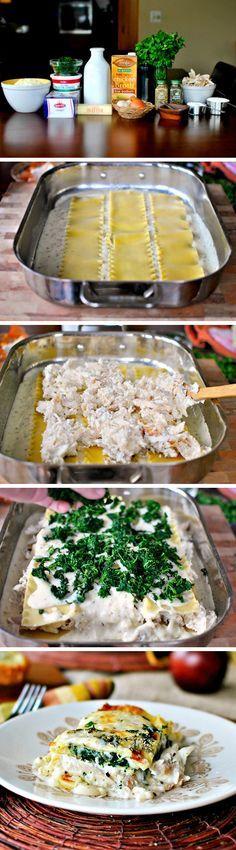 White Cheese and Chicken Lasagna --Chicken, cheese, spinach. YUM! http://tastykitchen.com/blog/2013/01/white-cheese-and-chicken-lasagna/