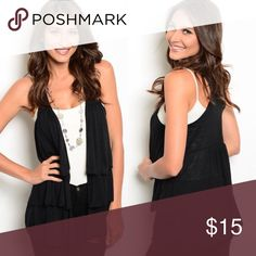 Black Tiered Ruffle Sleeveless Knit Cardigan, Vest New with tags. Sleeveless jersey knit best features an open front and tiered detailing. Available in XS, S, M, L, XL, and XXL.                                    63% polyester, 35% rayon, 2% spandex.                   Made in Cambodia.                                                          PRICE IS FIRM UNLESS BUNDLED.                             ❌SORRY, NO TRADES. Boutique Tops