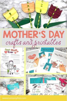 Give your mom a handmade gift this year with these Mother's Day Crafts that you can print and make. Templates for art prints, coupon books, memory worksheets, and paper flowers. Unique Mothers Day Gifts, Mothers Day Crafts For Kids, Mothers Day Cards, Happy Mothers, Easy Mother's Day Crafts, Easy Craft Projects, Craft Ideas, Diy Crafts, Fun Printables For Kids