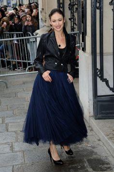 Olga Kurylenko wearing Jean Paul Gaultier. This look is perfection.