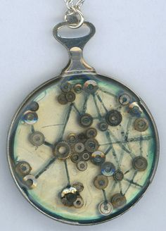 Vintage Glass Optican Lens Collage Resin Pendant by Jen McCleary