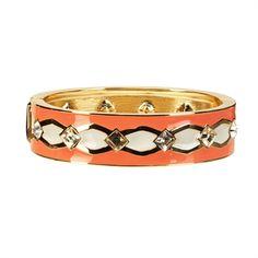 Anne Klein Deco Enamel and Rhinestone Hinged Bangle #VonMaur #AnneKlein #Coral #Bracelet #StyleCorner