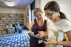 Dartmouth Middle School librarian Laura Gardner gives grader Alexandrina… School Librarian, Dartmouth, Year 2016, Kids Reading, The Middle, Middle School, Investing, Passion, Journal
