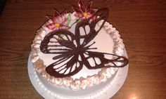 Chocolate butterfly and gelatin flowers