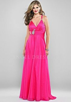 A line Chiffon Empire Straps Floor Length Sleeveless Prom Dress