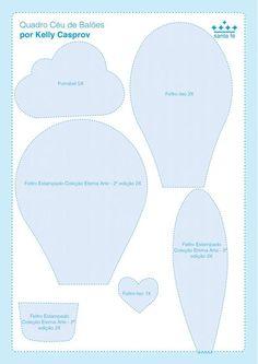 Formen – Ballonhimmel – Kelly Casprov – Feltros Santa Fé - My CMS Moldes Para Baby Shower, Felt Crafts Patterns, Balloon Crafts, Diy Bebe, Baby Mobile, Baby Sewing Projects, Felt Toys, Baby Room Decor, Hot Air Balloon