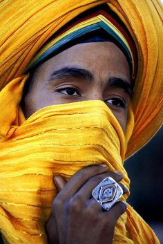 Moroccan male in yellow turban. Africa Moors المغرب (Morocco) by Andrea Loria, via Flickr