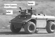 Fig. 4. The UGV used for field trials is a Demo III [23] eXperimental Unmanned Vehicle (XUV). It is a hydrostatic diesel, 4 wheel drive, 4 wheel steer vehicle and can autonomously navigate at 60 km/h on-road and at 35 km/h off-road in daylight, and 15 km/h off-road at night or under inclement weather conditions. The vehicle employs the NIST developed 4D/RCS (Real-Time Control System) [1] for autonomous navigation. The primary navigation suite of this vehicle consists of a LADAR, color…