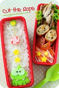 """Not sure where you get """"green egg sheet"""" for Om Nom (would adding food coloring to eggs do?"""")  but this gives me ideas for appetizers at a Cut the Rope birthday party."""