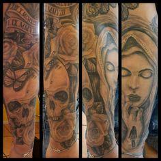 #blackandgreytattoo #blackandgrey #mariatattoo #skulltattoo #butterflytattoo #butterfly #skull #tätowierung #tattoo #tattooisart #inkandart #ink #paintitblack_bargteheide