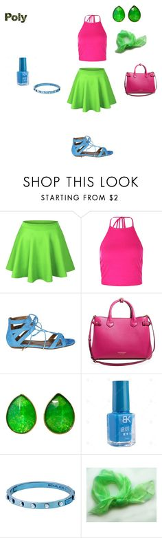 """""""Poly Pride"""" by alkalineclaw on Polyvore featuring Boohoo, Aquazzura, Burberry, Jona and Michael Kors"""