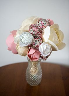 Handmade custom fabric flower bouquet.  Beautiful!