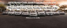VW Conquest Cash- McDonald VW  www.mcdonaldvw.com