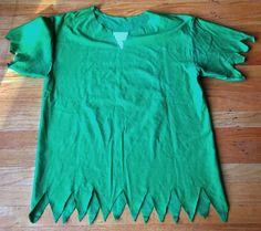 No sew DIY Peter Pan costume out of a green shirt.