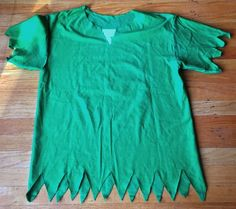 No sew DIY Peter Pan costume out of a green shirt.