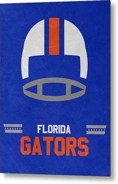 Gators Metal Print featuring the mixed media Florida Gators Vintage Football Art…