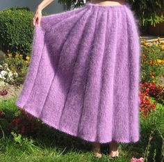 Thick fuzzy hand knitted pleated mohair skirt in by supertanya, $215.00