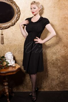 40s Dorothy Dress in Black Crepe de Chine