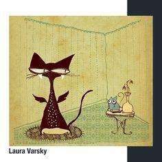 Laura Varsky es una diseñadora e ilustradora de la provincia de Buenos Aires. Inició su carrera diseñando discos y libros y luego pasó al… Moose Art, Animals, Cat Illustrations, Racing, Be Nice, Buenos Aires, Gatos, Libros, Animales