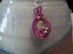Fossil Coral Gemstone Necklace Pink Copper Wire Wrap Handmade  #Handmade #Pendant