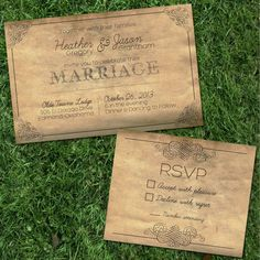 Antique Vintage Style Wedding Invitation and RSVP Card