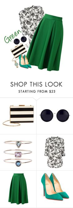 """""""Go Green!"""" by marketazemanova ❤ liked on Polyvore featuring Valentino, The Row, 19Fifth, Oasis, Chicwish, Christian Louboutin and Michael Kors"""