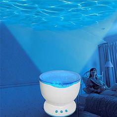 Ocean Sea Wave LED Projector Speaker USB Lamp_ Pretty cool to have around for a childbirth! Mermaid Bedroom, Mermaid Nursery, Mermaid Bedding, Water Waves, Sea Waves, Ocean Room, Beach Room, Ocean Nursery, Home Decor Accessories