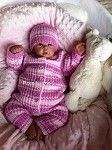 Pink knitted All-in-one set for preemie